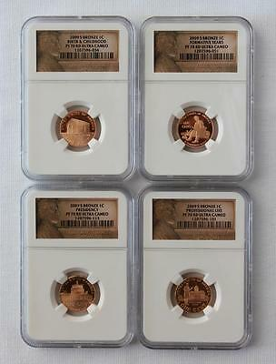 2009-S LINCOLN CENT 4 COIN SET 1C ~ NGC PF70 RD ~ Ultra Cameo (034)