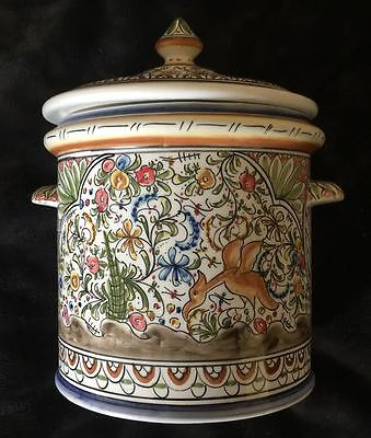 Ceramica De Coimbra Portugal Hand Painted Signed Canister Jar W/ Lid Cover Huge