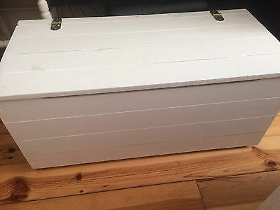 White Blanket Box/ Toy Box, With Hinged Lid.