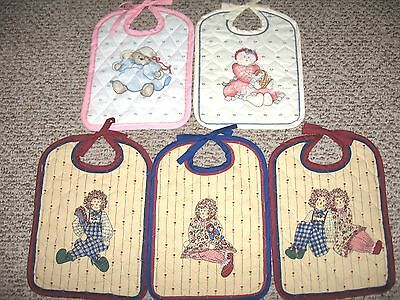 Quilted Daisy Kingdom Baby Bibs, Bound and Finished-New