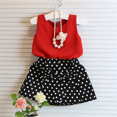 New Kids Baby Girls Outfits Clothes T-shirt Tops+Tutu Dress Skirt 2PCS Sets BN