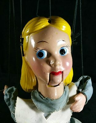 Vintage Disney Alice in Wonderland Marionette Peter Puppet Playthings 14 Inch VF