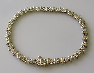 Secondhand 9ct Yellow Gold Multi Diamond Bracelet (7 1/2 inches).