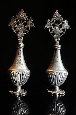 Antique Middle Eastern Solid Silver Kohl Eyeliner Container Pot Bottle Pair