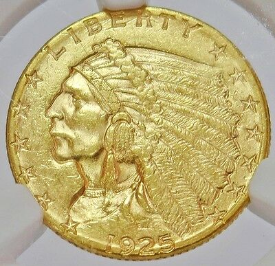 1925 D Gold Us $2.5 Indian Head Quarter Eagle Coin Ngc Mint State 61
