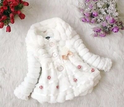 Baby Girl Winter White Faux Fur Fleece Lined Jacket Coat Size 2-3 Yrs USA Seller