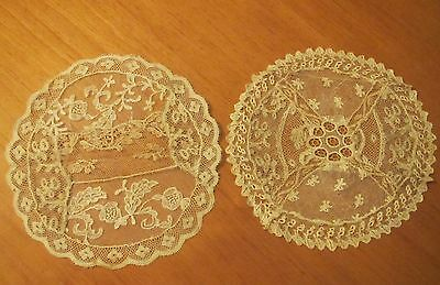 Antique Lace Doilies French Normandy Table Doily Handmade Net Embroidered Mat