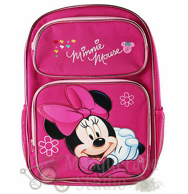 "16"" Disney Minnie Mouse Large Pink School Backpack Book Bag"