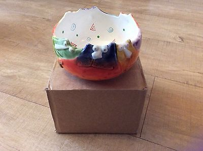 **NEW Joy cats Rainbow kittens round bowl dish plant pot Collectible red blue