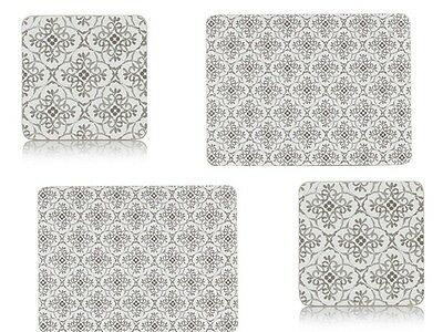 Set of 4 Moroccan Grey Tiles Placemats & Coasters Classic Floral Balinese Aztec