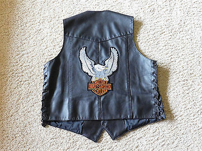 Motorcycle Vest Leather Harley Hillside Hog Eagle Patches Sturgis Pins Pow/mia