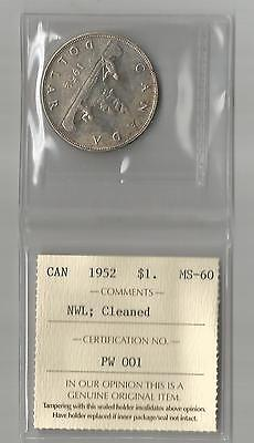 "1952 Silver Dollar From Canada Graded By Iccs Ms-60 "" Nwl ""  Bv $ 47.00"