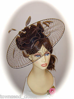 SALE Mother of Bride Ascot Occasion Wedding G/Snoxell Fascinator, Brown Net