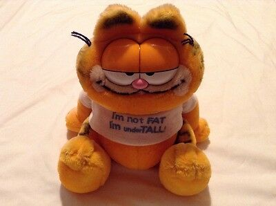Garfield Vintage Soft Toy.I'm Not Fat I'm Under Tall.1981 R Dakin & Co.24cm Tall