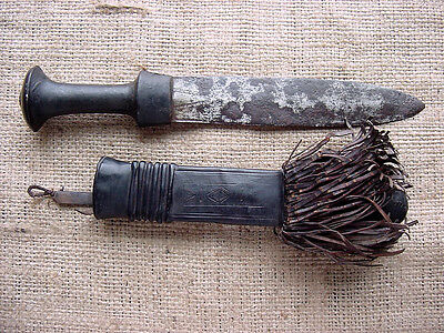 Old African Dagger Fighting Knife Africa Vintage Tribal + Nice Leather Sheath