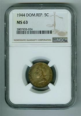 Dominican Republic 1944 5 Centavos Ngc Ms-63 Bu Nicely Toned
