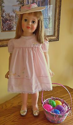 "Beautiful Vintage Pink Spring Dress & Hat For 35"" Patti Playpal Doll Clothes A+"