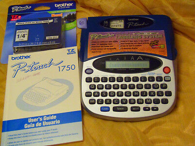 """Brother P-touch 1750 Labeling System Label Maker, Manual & new TZ 1/4"""" Tape euc"""