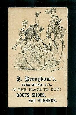 Collision On Big Wheel Victorian Bicycles-1880s Victorian Trade Card