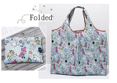 Moomin Valley Characters Nylon Foldable Recycle Tote Carry Bag Blue