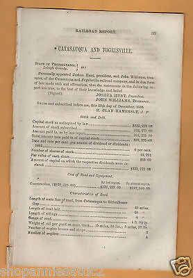 1865 Pennsylvania railroad report CATASAQUA & FOGELSVILLE RR Rittenhouse Gap PA