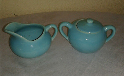 Vintage Bauer Pottery  Ringware blue demitasse sugar bowl  with lid and creamer