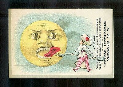 Little Chef Feeds The Moon-Unusual 1880s Victorian Trade Card