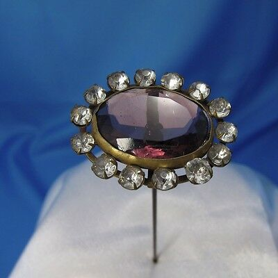 Antique Purple Oval Stone with Rhinestone Surround Hatpin Hat Pin