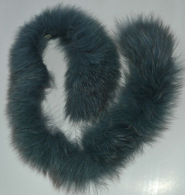 Dyed Grey Blue Real Silver Fox Fur Collar for craft, hood, coat, headband, etc