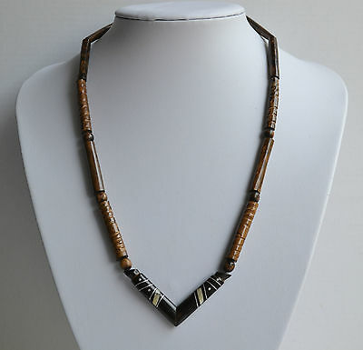 Vintage Hand Carved Black Coral Necklace Gold Coral Mother Of Pearl Inlay