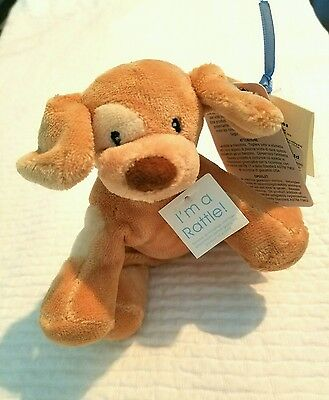 """Baby Gund Soft """"spunky"""" Puppy Rattle Stuffed Plush Animal Toy - New With Tags"""