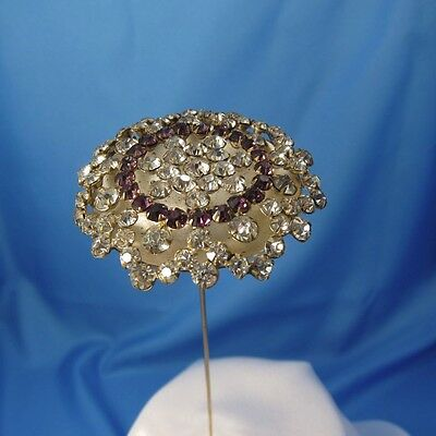 Antique HUGE Purple and Clear Rhinestone Hatpin, Hat Pin