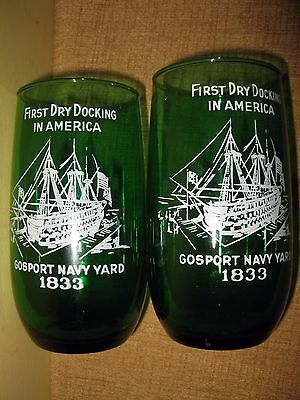 2 Vintage Emerald green glass tumbler cup Gosport Navy Yard United States 1833