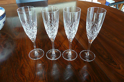 Set of 4, Royal Doulton crystal, 'Helene' design, champagne flutes.