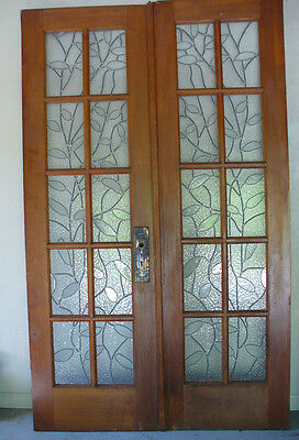Antique French Doors with Leaded Glass Panes
