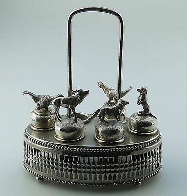 Antique Silver Plate : RARE WMF Set of 5 novelty Bottle Stoppers in Stand  19th