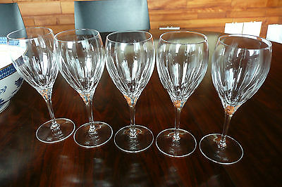 Set of 5, Royal Doulton crystal, simple, classic, lineal design.