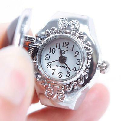 Pretty Creative Girl Man Steel Gemstone Elastic Quartz Finger Ring Watch
