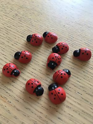 10 Mini Craft Ladybirds - Self Adhesive - Perfect For Fairy Gardens