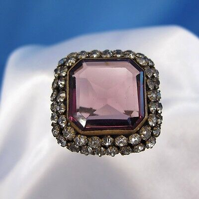 Antique Large Square Purple Stone with Rhinestone Hatpin Hat Pin