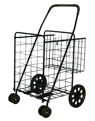 Wellmax Stronics Folding Shopping Cart w/Rear Extra Basket & Front Swivel Wheels