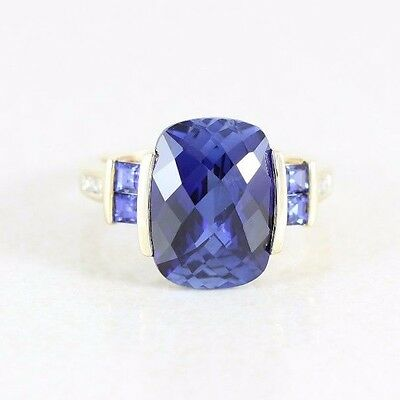 10k Yellow Gold  Blue Sapphire and Diamond Ring Size 7 1/2