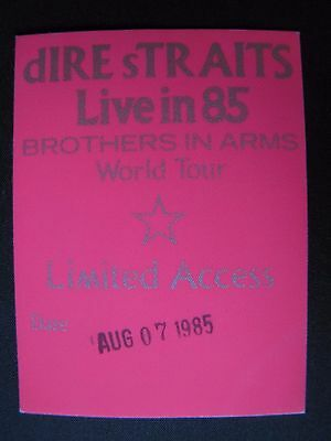 Dire Straits Tour Backstage Pass!! RARE! !Unpeeled!! Brothers In Arms Vintage
