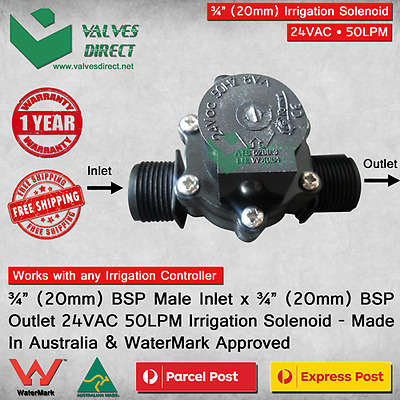 "3/4"" inch 20mm Inlet/Outlet Irrigation Solenoid Valve 24V AC 50LPM Watermark"