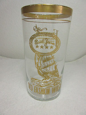 "Paul Jones Old Fashion Whiskey 5"" Glass - Gold Ship Logo Frankfort Distilleries"