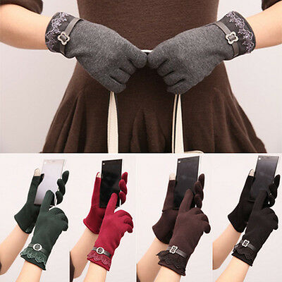 Women warm Winter Touch Screen Warm Gloves Lady Cotton Lace Gloves Fashion Glove