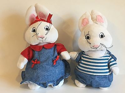"""Max & Ruby with Backpacks 10"""" Plush Stuffed Toys Bunnies Nick Jr. Can Stand Up"""