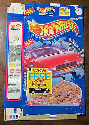 Hot Wheels cereal box 1990 1990s 90s 14oz. Mattel - Frosted Oat Mag Wheels!