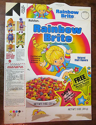 """Rainbow Brite cereal box 1985 1980s """"Free movie poster"""" offer/coupon flat - RARE"""