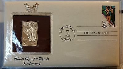 Winter Olympic Games Ice Dancing First Day Issue Gold Stamp in protective sleeve